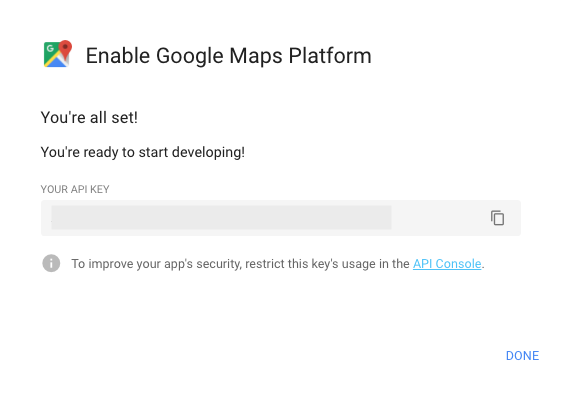 Enable Google Maps API Key
